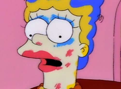 Marge with Homer-applied makeup