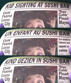 Newspaper headline in multiple=