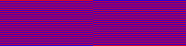 Expanded detail of red/blue comparison test pattern