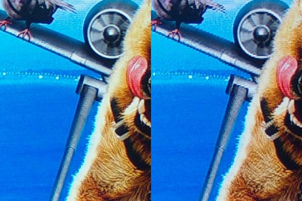 Another jaggie detail on Cats and Dogs 2, 3D. In 2D mode left, 3D right