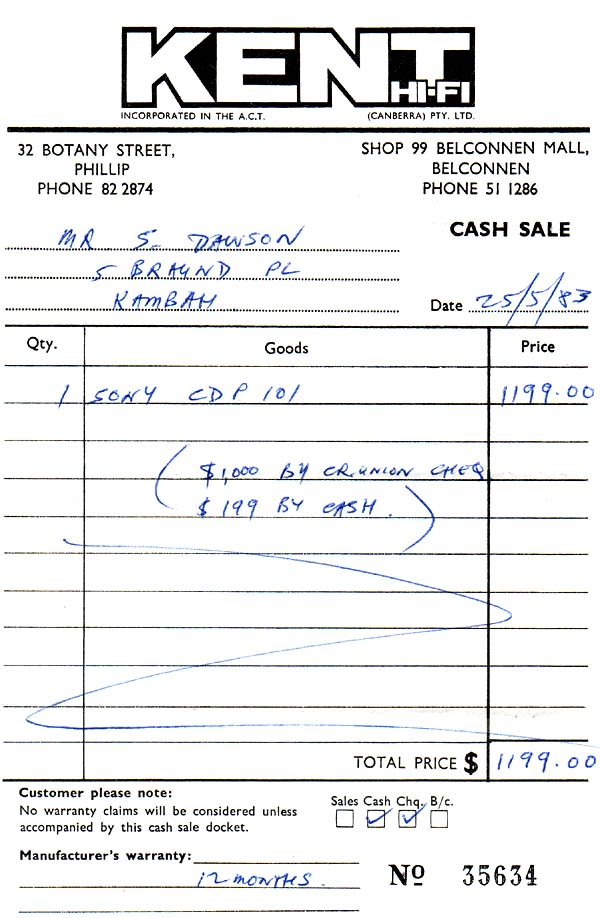 Purchase receipt - Sony CDP-101 - 1983